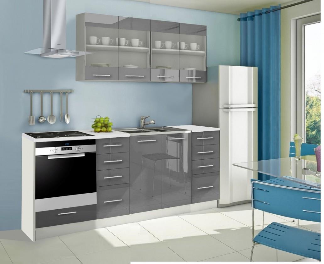 Rovná Mondeo - Kuchynský blok E 220 cm, sivá, lesk