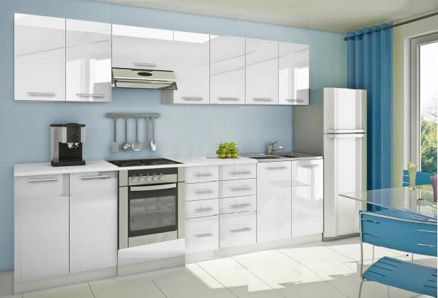 Rovná Mondeo - Kuchynský blok E 300 cm, biela, lesk