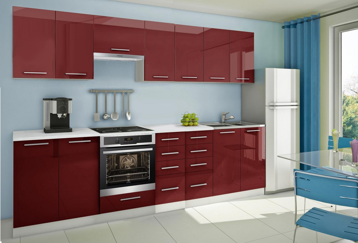 Rovná Mondeo - Kuchynský blok E 300 cm, červená, lesk