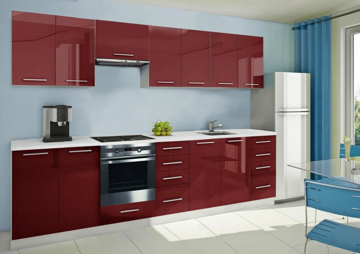 Rovná Mondeo - kuchynský blok E 300 cm (pracovná doska - mramor)