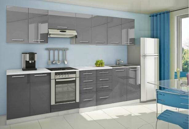 Rovná Mondeo - Kuchynský blok E 300 cm, sivá, lesk