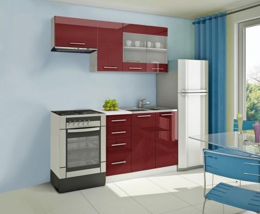 Rovná Mondeo - Kuchynský blok F 180 cm, červená, lesk