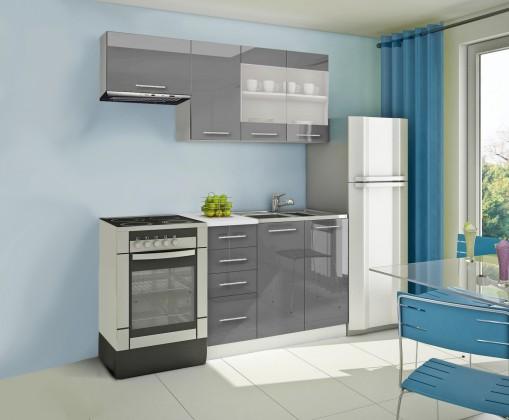 Rovná Mondeo - Kuchynský blok F 180 cm, sivá, lesk