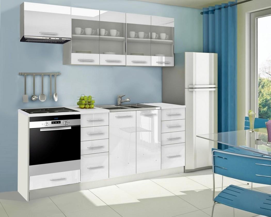 Rovná Mondeo - Kuchynský blok F 220 cm, biela, lesk