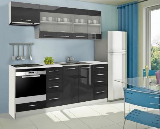 Rovná Mondeo - Kuchynský blok F 220 cm, čierna, lesk