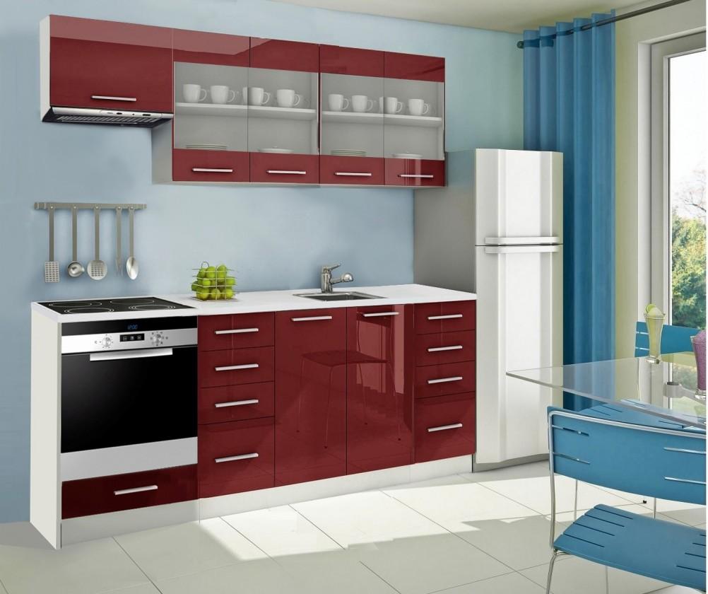 Rovná Mondeo - kuchynský blok F 220 cm (pracovná doska - mramor)
