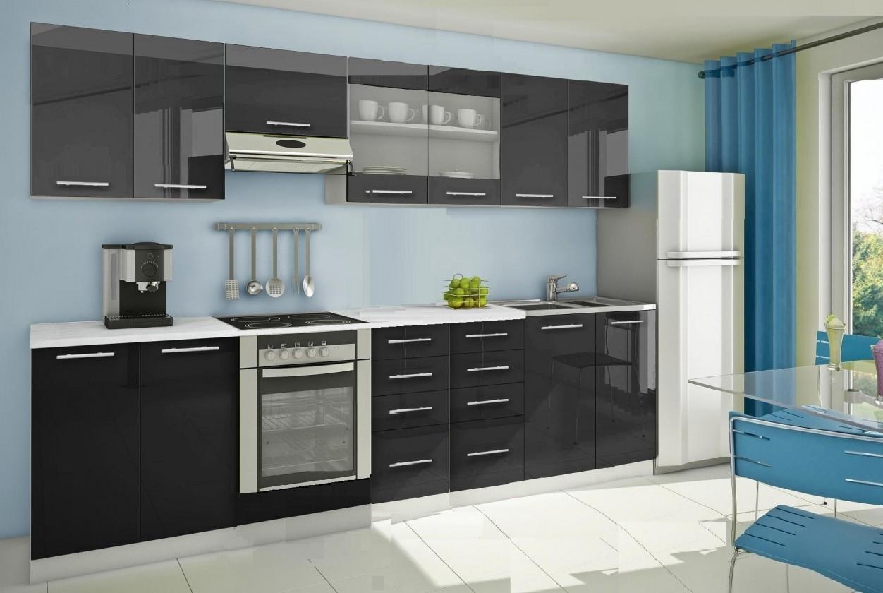 Rovná Mondeo - Kuchynský blok F 300 cm, čierna, lesk