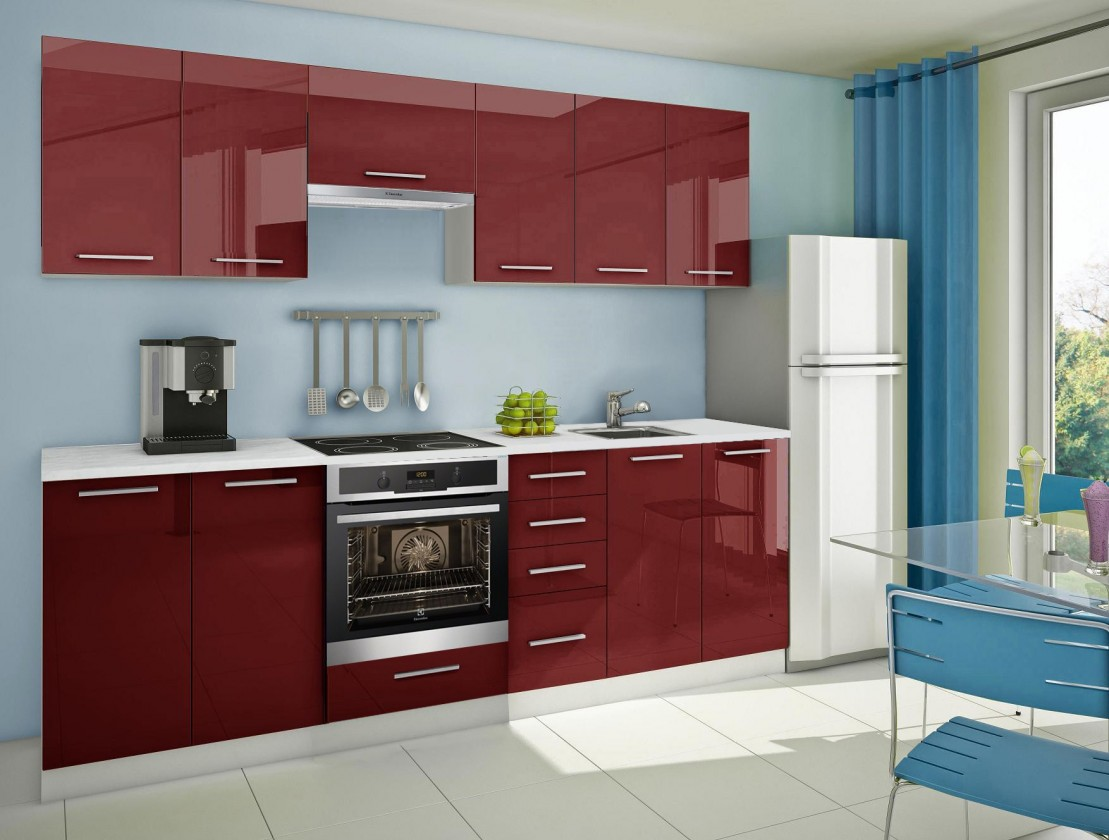 Rovná Mondeo - Kuchynský blok G, 260cm (červená)