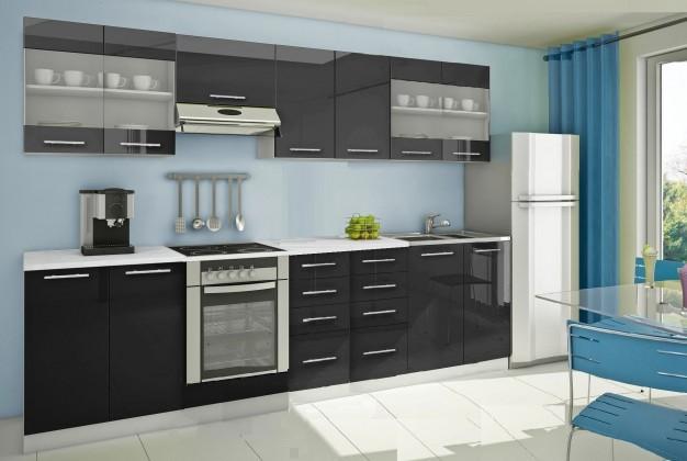 Rovná Mondeo - Kuchynský blok G 300 cm, čierna, lesk