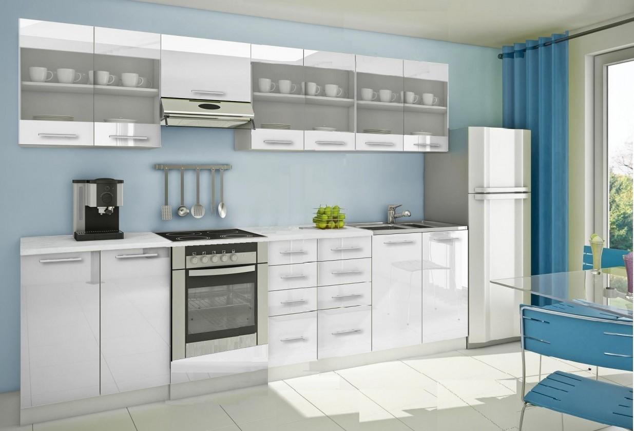 Rovná Mondeo - Kuchynský blok H 300 cm, biela, lesk