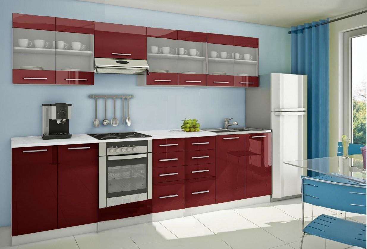 Rovná Mondeo - Kuchynský blok H 300 cm, červená, lesk