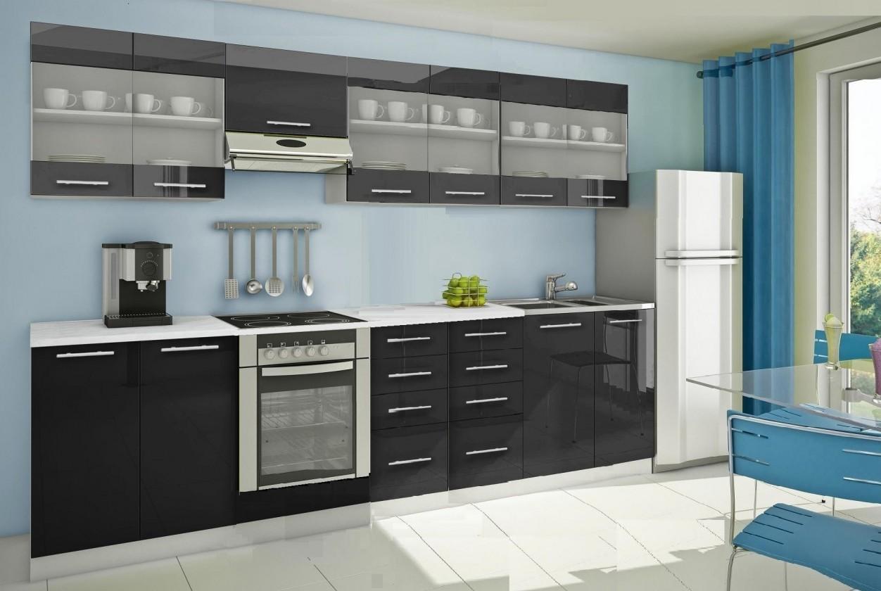 Rovná Mondeo - Kuchynský blok H 300 cm, čierna, lesk