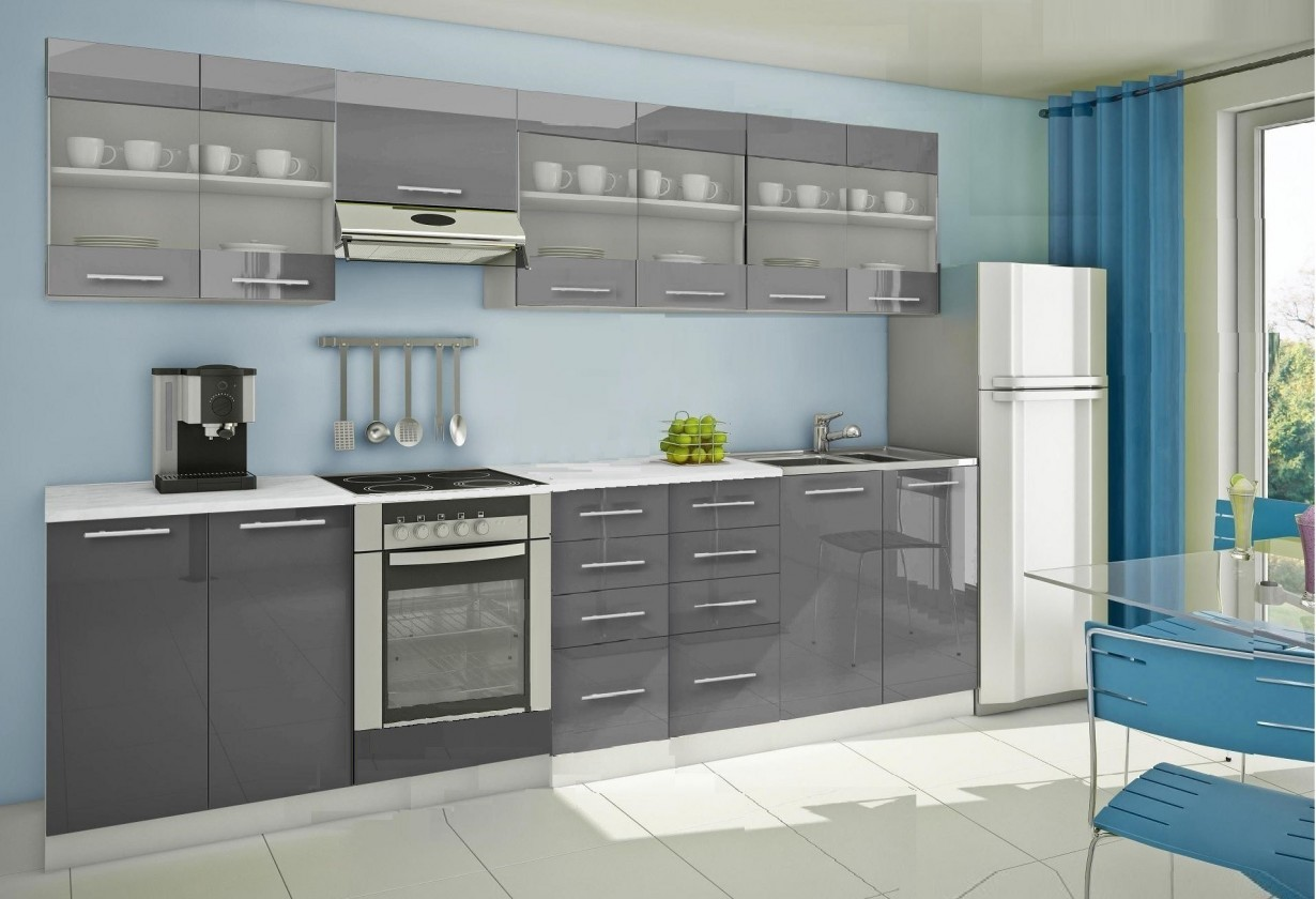 Rovná Mondeo - Kuchynský blok H 300 cm, sivá, lesk