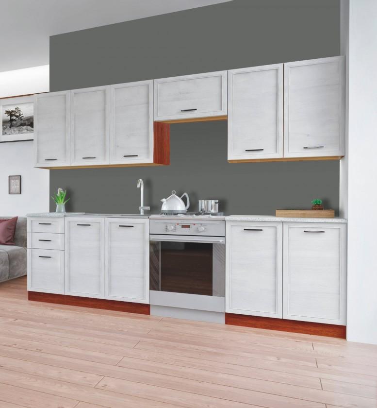 Rovná Rema - Kuchynský blok (bielený smrekovec, orech, svetlý granit)