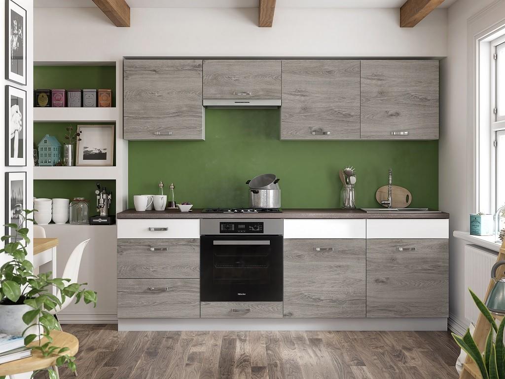 Rovné kuchynské linky Kuchyňa Santis - 240 cm (figaro/biela/travertin tmavý)