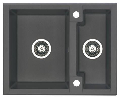 Rovný Cubo 20 - Drez, vrátane sifónu, 1 a pol vaničky (granit, čierna)