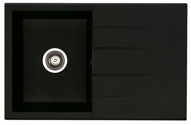Rovný Cubo 30 - Drez, vrátane sifónu (granit, čierna)