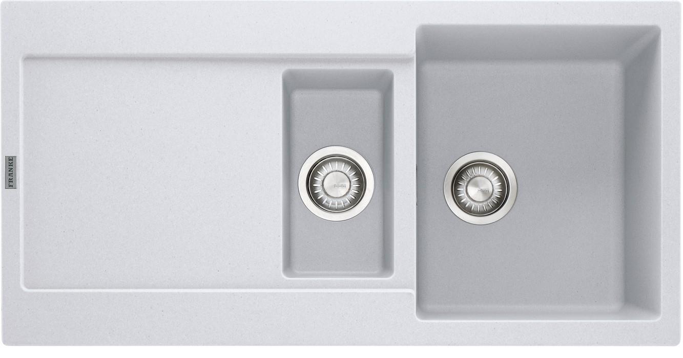 Rovný Franke - drez Fragranit MRG 651, 970x500 (biela-ľad)