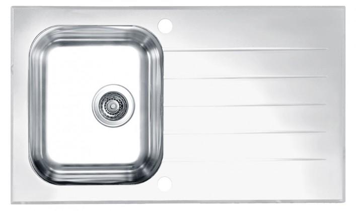Rovný Glassix 10 - Drez, vrátane sifónu, biela (nerez - tvrdené sklo)