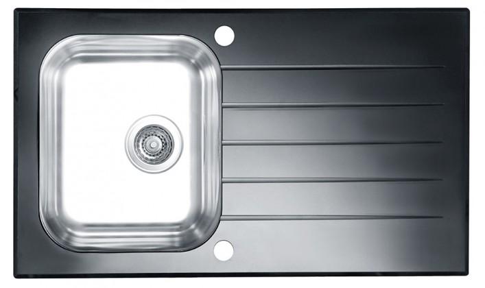 Rovný Glassix 10 - Drez, vrátane sifónu, čierna (nerez - tvrdené sklo)