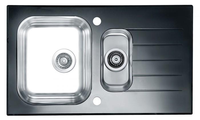 Rovný Glassix 20 - Drez, vrátane sifónu (nerez - tvrdené sklo)