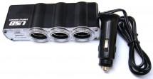 Rozbočovač pre autozapaľovač 3x12V + USB port