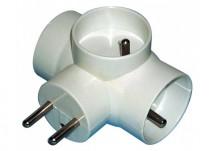 Rozbočovacia zásuvka Emos P0024, 3xguľatá, biela