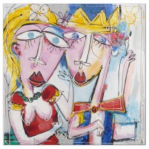 Ručne maľovaný obraz na stenu Couple (100x100 cm)