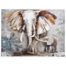 Ručne maľovaný obraz na stenu Elephants (90x120 cm)
