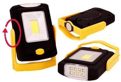Ručné svietidlá Kempingové svietidlo LED COB s otočným stojanom a reflektorom
