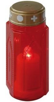 Ručné svietidlá Náhrobná sviečka vysoká, červená LED
