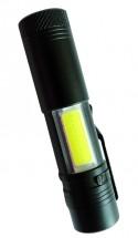 Ručné svietidlo Peacock S600COB, nabíjací, 3W XPE + 3W LED COB