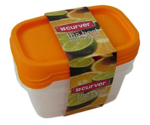 Sada dóz na potraviny, 3x0,5l (plast,oranžová)