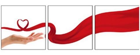 Sada obrazov, 3ks (bielo-červená, dotek lásky)