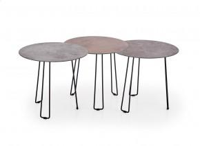 Sada troch konferenčných stolíkov Triple (imitácia kameňa)