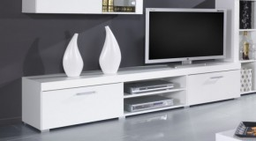 Samba - TV skriňa (biela mat - korpus / biela lesk - fronty)