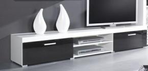 Samba - TV skriňa (biela mat - korpus / čierny lesk - fronty)