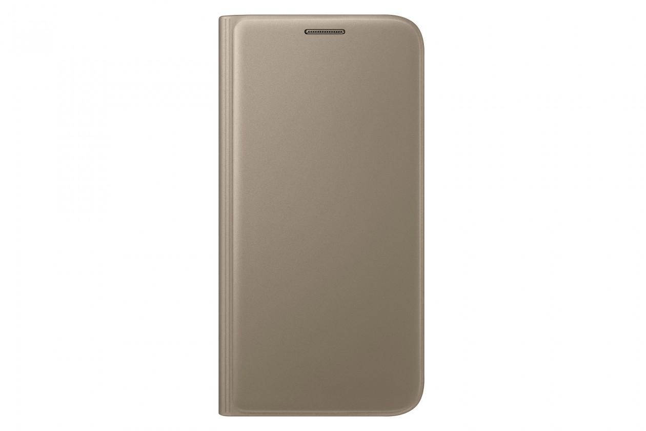 Samsung flip puzdro s vreckom pre Galaxy S7, zlatá