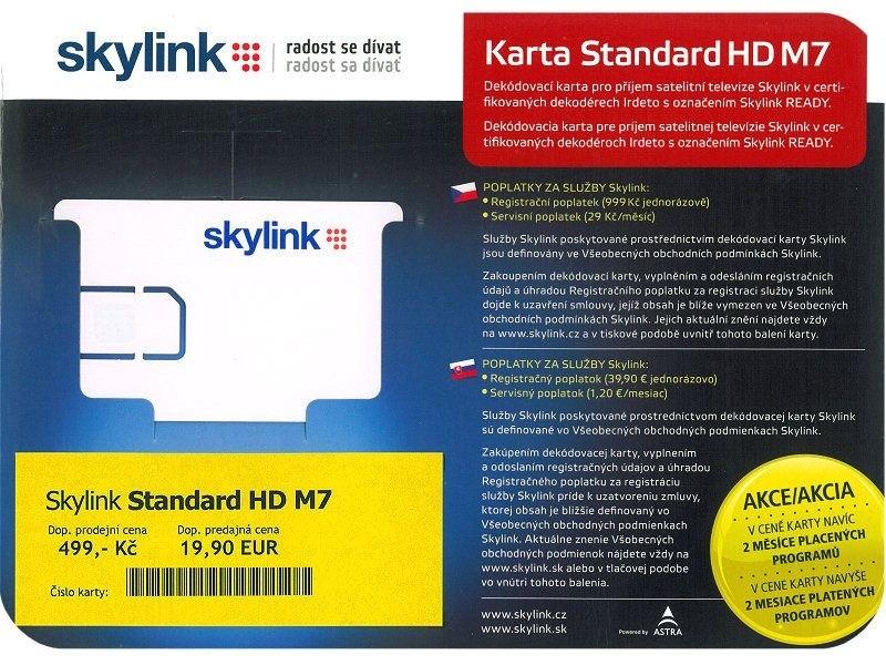 Satelitné príslušenstvo Skylink karta Standard HD M7