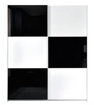 Šatníková skriňa Colin SZF/183 - biela / čierna lesk - II. akosť