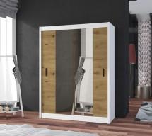 Šatníková skriňa Ragla - 120x215x61 cm (biela, dub artisan)