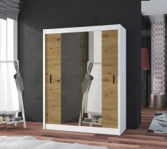 Šatníková skriňa Ragla - 150x215x61 cm (biela, dub artisan)
