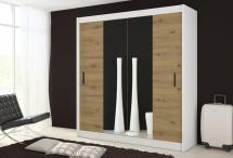 Šatníková skriňa Ragla - 180x215x61 cm (biela, dub artisan)