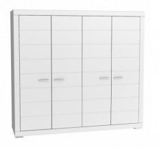 Šatníková skriňa Snow, 4x dvere (biela)