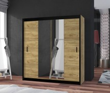 Šatníková skriňa Tofta - 180x215x61 cm (dub craft, čierna)
