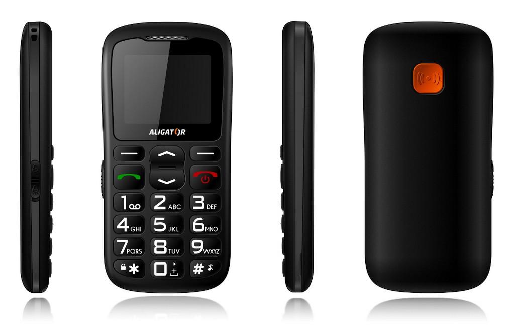 Senior telefón  Aligator A430 Black Grey