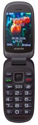 Senior telefón Aligator V400 Senior čierno-červená + stolní nabíječka