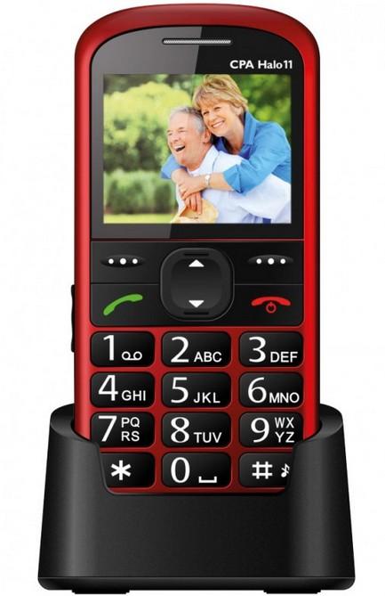 Senior telefón CPA HALO 11, červená