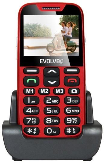 Senior telefón Evolveo EasyPhone XD, mobilní telefon pro seniory, červená