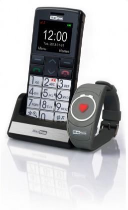 Senior telefón Set pre seniorov Maxcom Comfort MM715 + SOS náramok, čierna